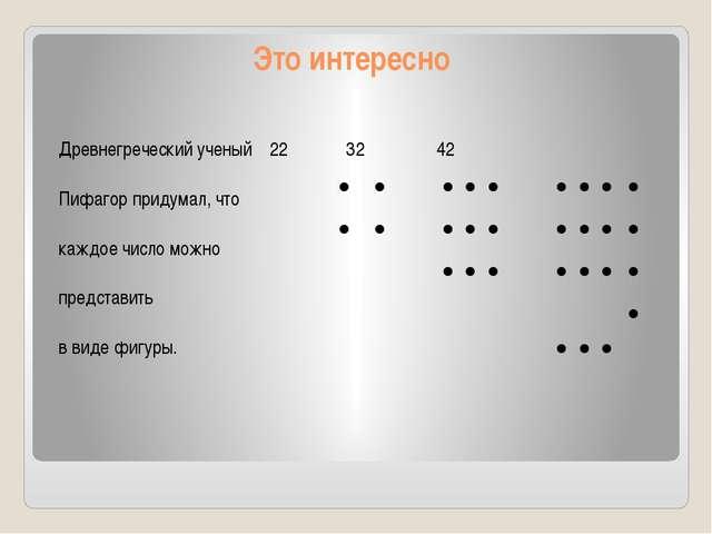 Древнегреческий ученый 22 32 42 Пифагор придумал, что каждое число можно пред...