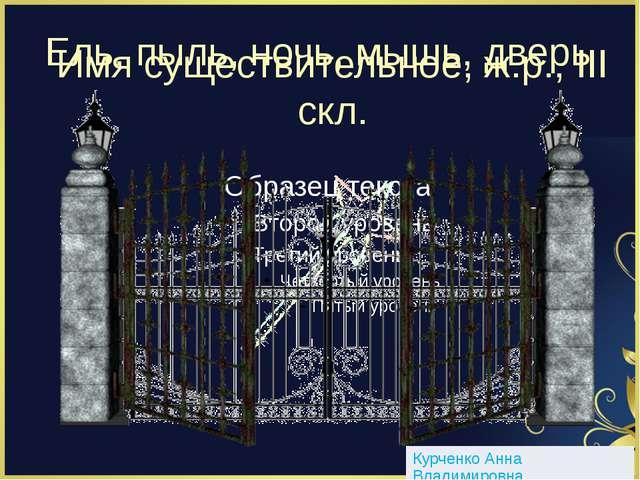 Ель, пыль, ночь, мышь, дверь Имя существительное, ж.р., III скл. Курченко Анн...
