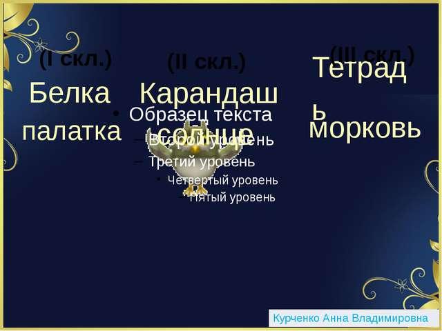 Белка (I скл.) Карандаш (II скл.) палатка Тетрадь (III скл.) морковь солнце К...