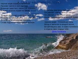 Черное море игривым котенком Ласково трется о ноги волной. Влажная шерстка с