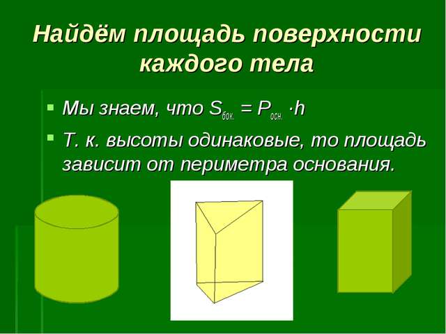 Найдём площадь поверхности каждого тела Мы знаем, что Sбок. = Росн. ∙h Т. к....