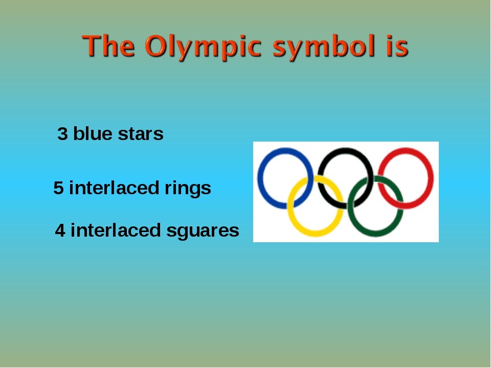 5 interlaced rings 4 interlaced sguares 3 blue stars