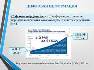 ЦИФРОВАЯ ИНФОРМАЦИЯ Цифровая информация – это информация, хранение, передача