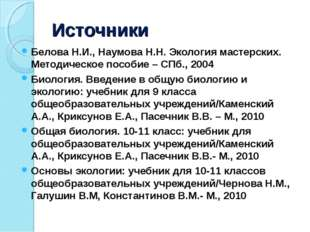 Источники Белова Н.И., Наумова Н.Н. Экология мастерских. Методическое пособие