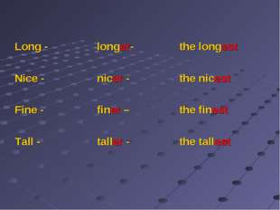 Long - 	longer-	the longest Nice -	nicer -	the nicest Fine -	finer – 	the fi