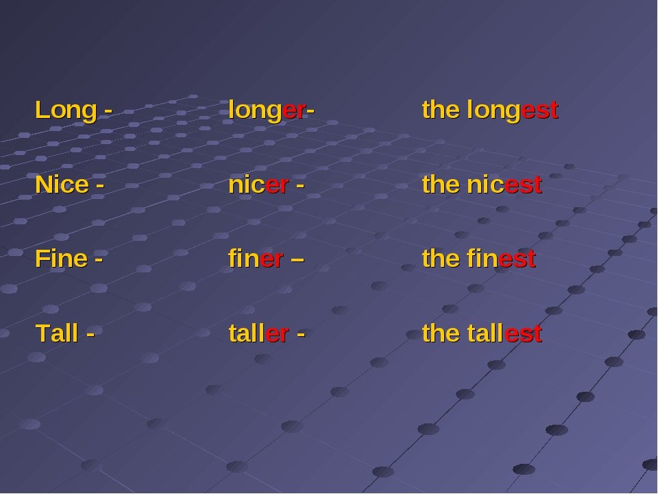 Long - 	longer-	the longest Nice -	nicer -	the nicest Fine -	finer – 	the fi...