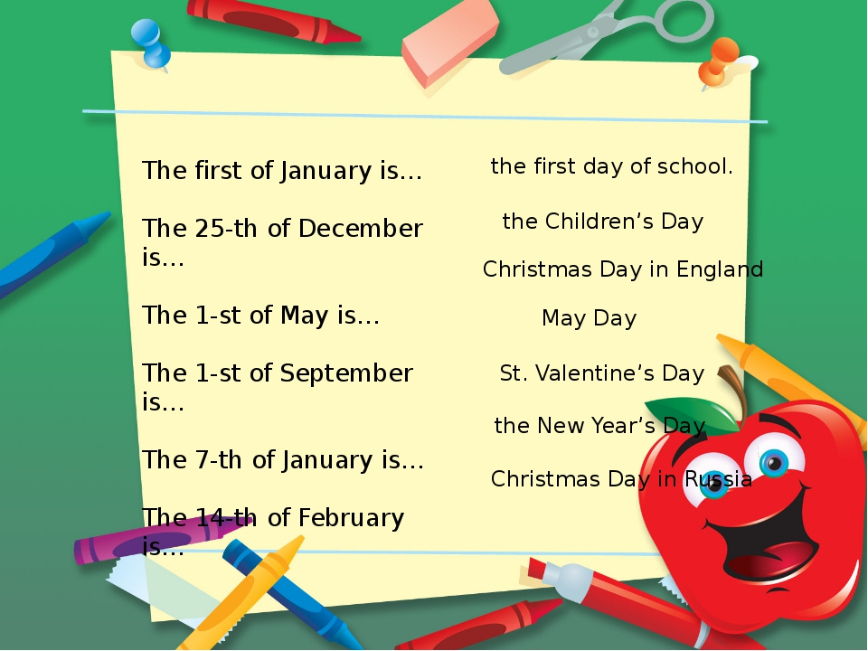 The first of January is… The 25-th of December is… The 1-st of May is… The 1-...