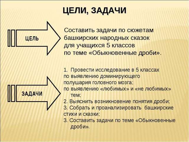ЦЕЛЬ ЗАДАЧИ ЦЕЛИ, ЗАДАЧИ Составить задачи по сюжетам башкирских народных сказ...