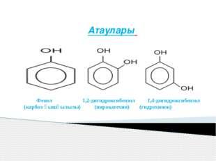 Атаулары Фенол 1,2-дигидроксибензол 1,4-дигидроксибензол (карбол қышқылылы) (