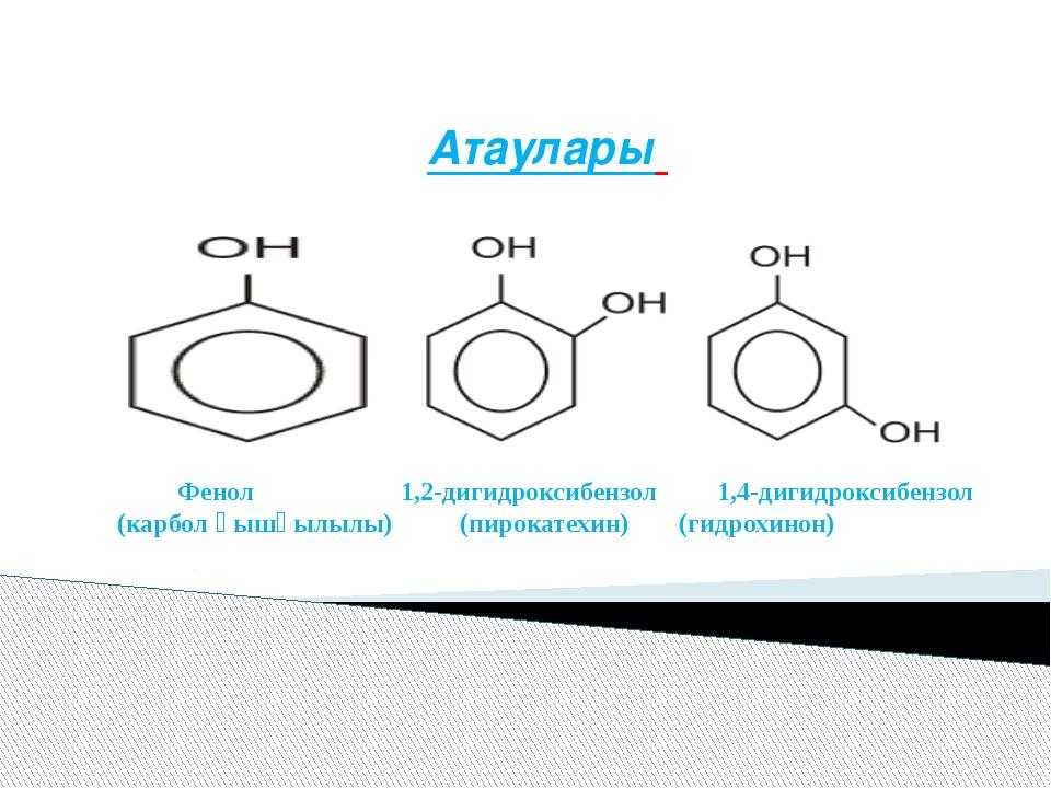 Атаулары Фенол 1,2-дигидроксибензол 1,4-дигидроксибензол (карбол қышқылылы) (...