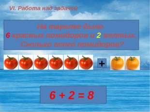 VI. Работа над задачей На тарелке было 6 красных помидоров и 2 желтых. Скольк