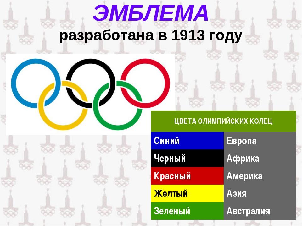 ЭМБЛЕМА разработана в 1913 году ЦВЕТА ОЛИМПИЙСКИХ КОЛЕЦ СинийЕвропа Черный...
