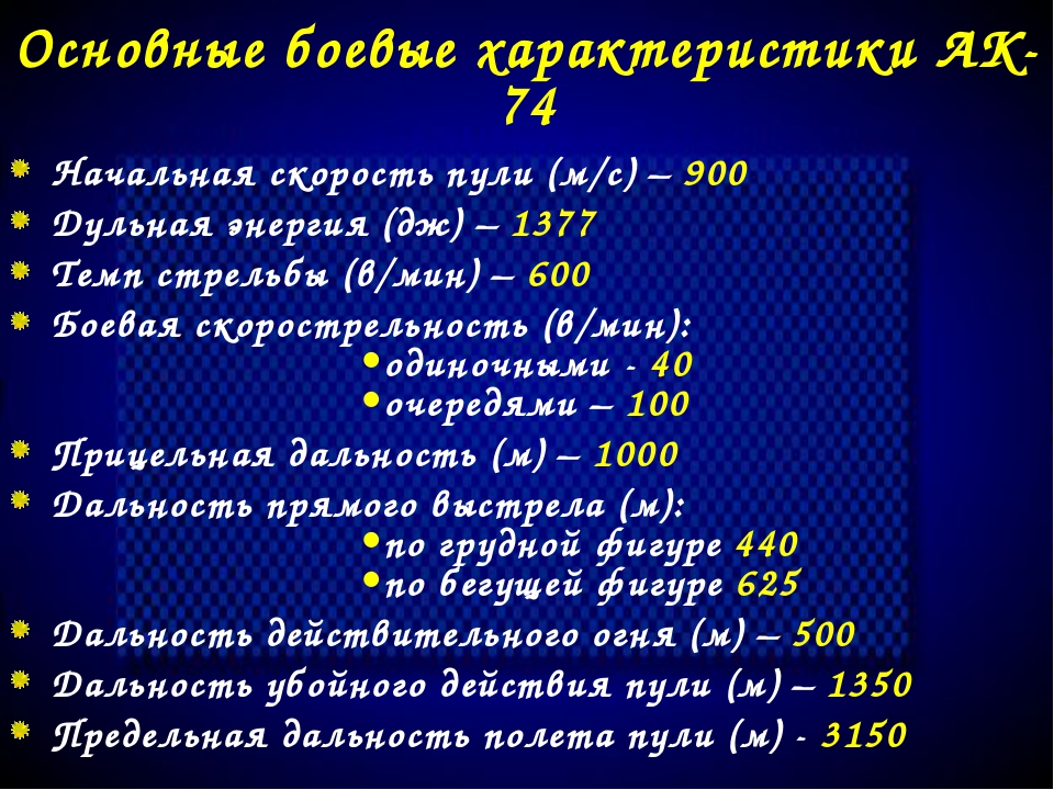 Основные боевые характеристики АК-74 Начальная скорость пули (м/с) – 900 Дуль...