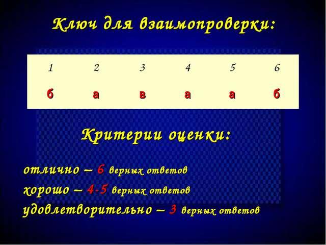 Критерии оценки: отлично – 6 верных ответов хорошо – 4-5 верных ответов удовл...