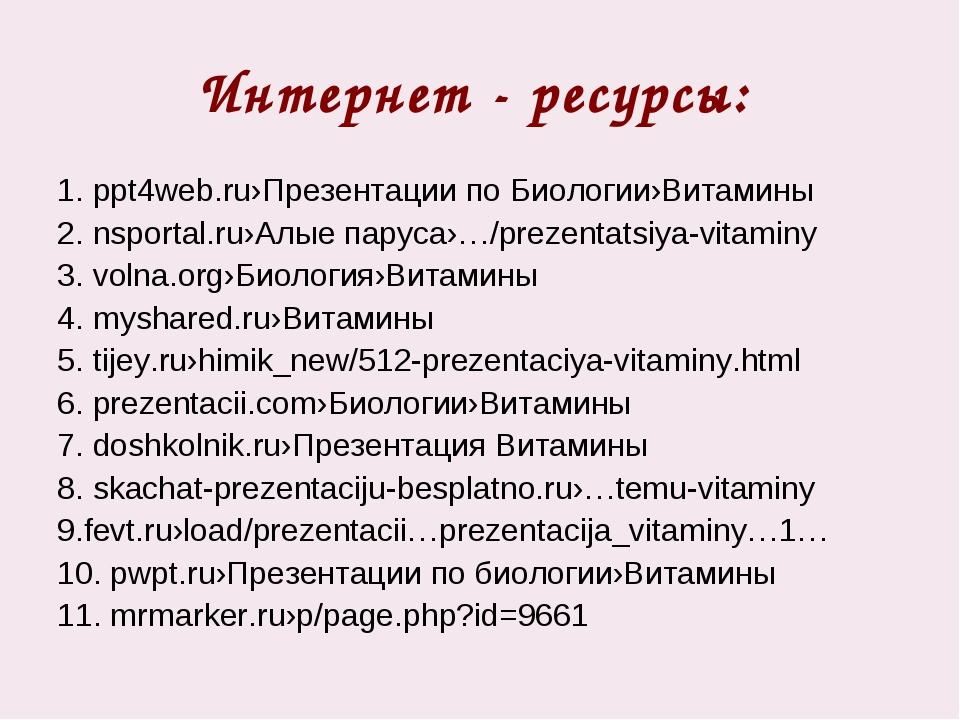 Интернет - ресурсы: 1. ppt4web.ru›Презентации по Биологии›Витамины 2. nsporta...