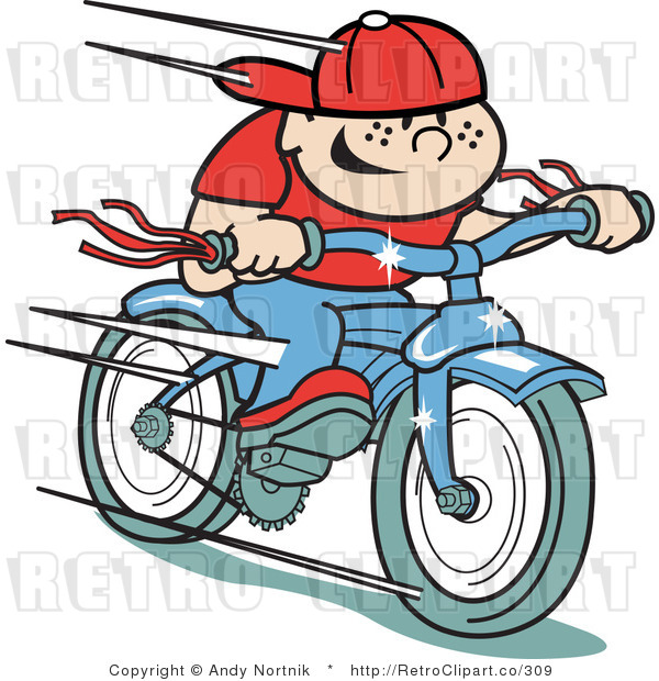 Retro Royalty Free Fast Boy Riding a Bike Vector Clipart by Andy Nortnik - #309