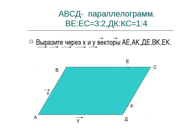 АВСД- параллелограмм. ВЕ:ЕС=3:2,ДК:КС=1:4 Выразите через x и y векторы АЕ,АК...