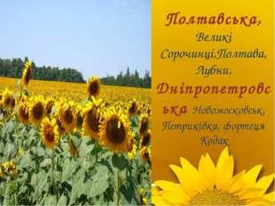 Полтавська, Великі Сорочинці,Полтава, Лубни, Дніпропетровська Новомосковськ,