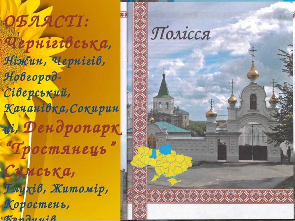 ОБЛАСТІ: Чернігівська, Ніжин, Чернігів, Новгород-Сіверський, Качанівка,Сокир...