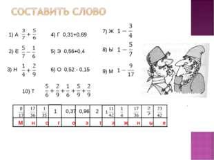 1) А 2) Е 3) Н 4) Г 0,31+0,69 5) Э 0,56+0,4 6) О 0,52 - 0,15 7) Ж 8) Ы 9) М 1