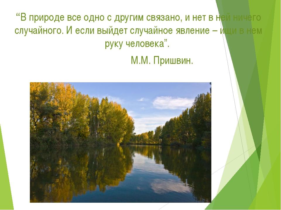 """""""В природе все одно с другим связано, и нет в ней ничего случайного. И если в..."""
