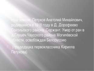 Наш земляк, Петухов Анатолий Михайлович, родившийся в 1918 году в Д. Дорофее