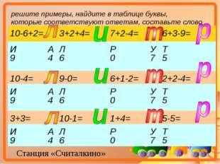 Станция «Считалкино» решите примеры, найдите в таблице буквы, которые соответ