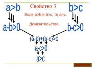 Свойство 3 Если a>b и b>c, то a>c. Доказательство. Оглавление