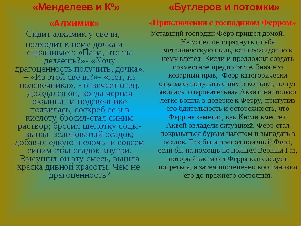 «Менделеев и Кº» «Алхимик» Сидит алхимик у свечи, подходит к нему дочка и спр...