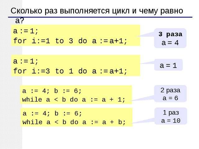 Сколько раз выполняется цикл и чему равно a? a := 1; for i:=1 to 3 do a := a...