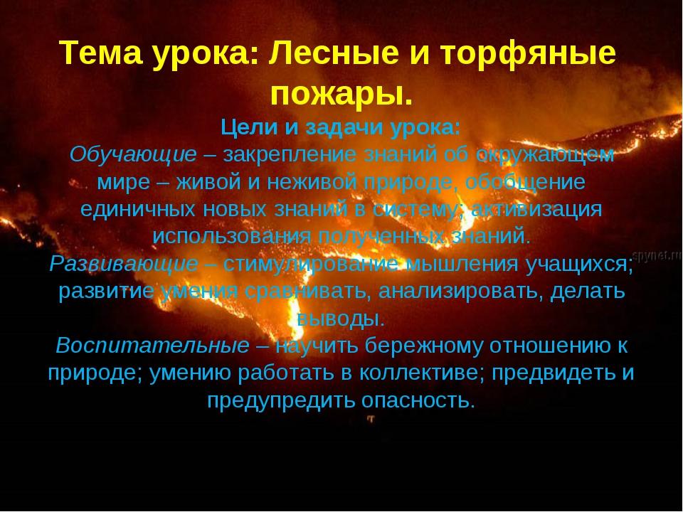 Тема урока: Лесные и торфяные пожары. Цели и задачи урока: Обучающие –закреп...