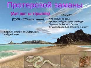 (2500 - 570 млн. жыл) Барлық омыртқасыздарыдың пайда болуы. Климат. Ауа райы