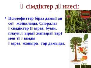 Өсімдіктер дүниесі: Псилофиттер біраз дамыған соң жойылады. Споралы өсімдікте