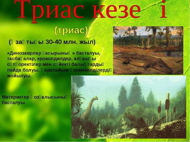 (Ұзақтығы 30-40 млн. жыл) «Динозаврлар ғасырының» басталуы, тасбақалар, кроко...