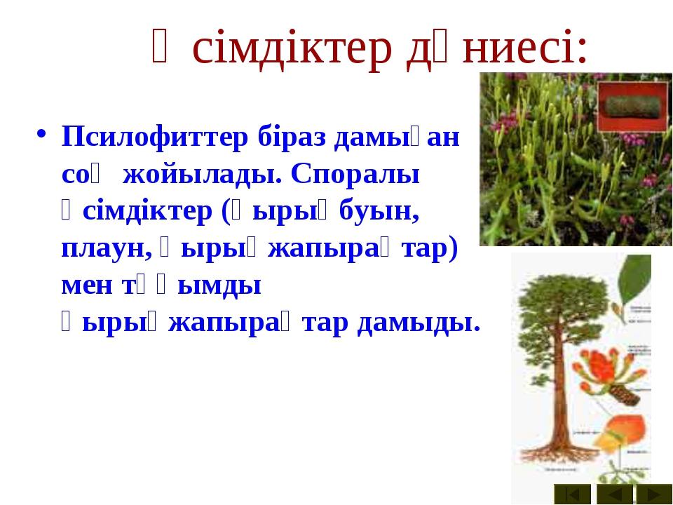Өсімдіктер дүниесі: Псилофиттер біраз дамыған соң жойылады. Споралы өсімдікте...