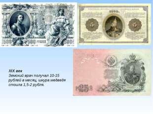 XIX век Земский врач получал 10-15 рублей в месяц, шкура медведя стоила 1,5-2