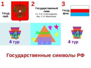 4 тур 4 тур Государственный гимн Сл. А.В. Александрова, Муз. С.В. Михалкова