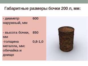 Габаритные размеры бочки 200 л, мм: - диаметр наружный, мм 600 - высота бочки