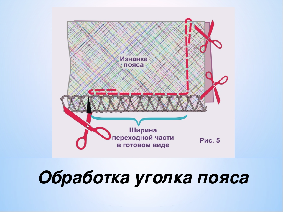 Обработка уголка пояса