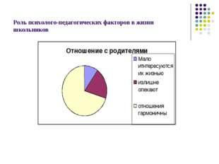 Роль психолого-педагогических факторов в жизни школьников