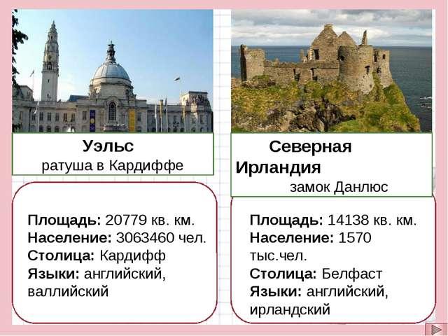 Уэльс ратуша в Кардиффе Северная Ирландия замок Данлюс Площадь: 20779 кв. км...