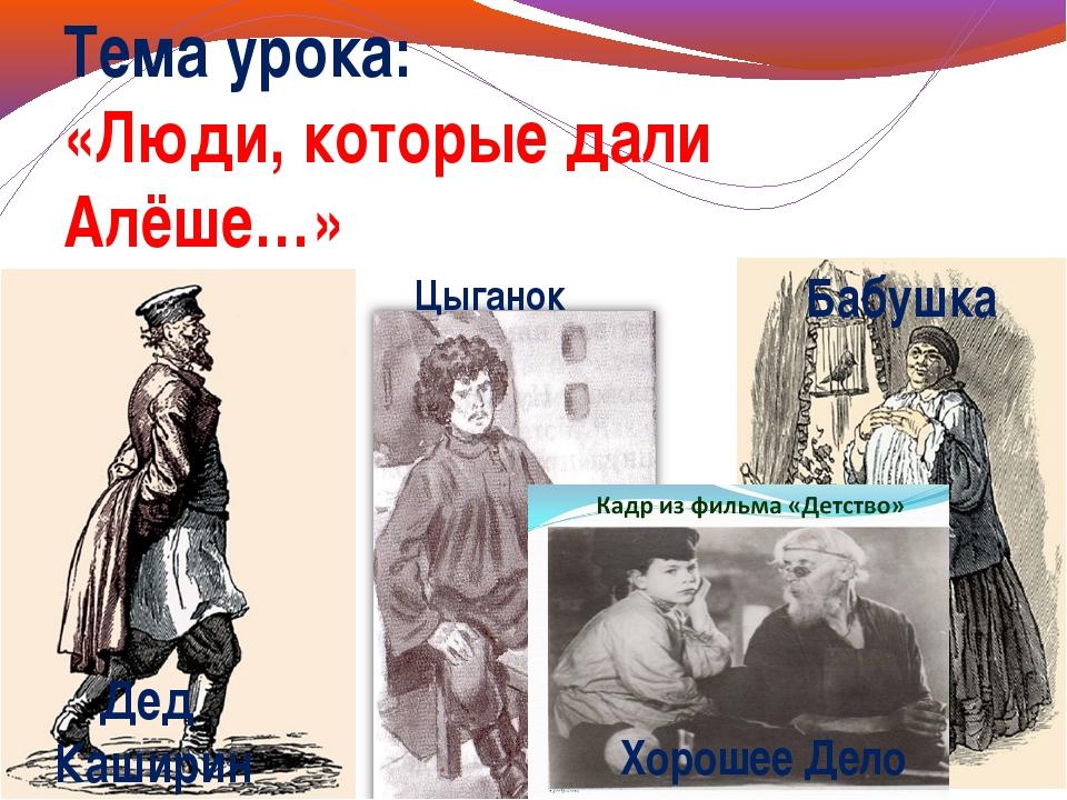 Тема урока: «Люди, которые дали Алёше…» Дед Каширин Цыганок Бабушка Хорошее Д...