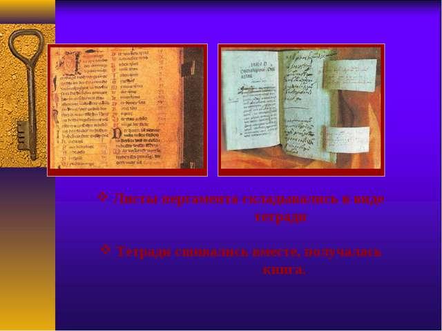 Листы пергамента складывались в виде тетради Тетради сшивались вместе, получ...
