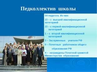 Педколлектив школы 54 педагога. Из них: 23 – с высшей квалификационной катег