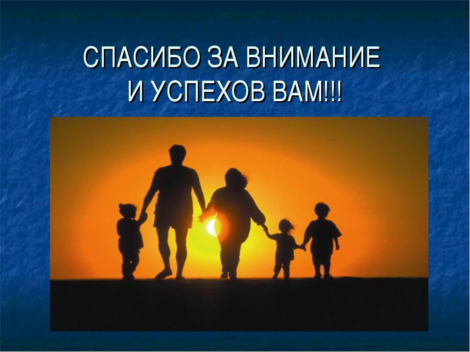 СПАСИБО ЗА ВНИМАНИЕ И УСПЕХОВ ВАМ!!!