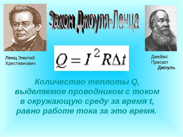 Джеймс Прескот Джоуль Ленц Эмилий Христианович Количество теплоты Q, выделяе...