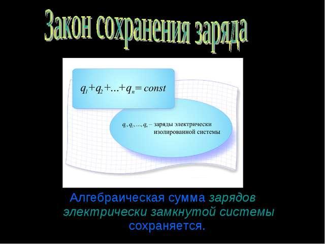 Алгебраическая сумма зарядов электрически замкнутой системы сохраняется.