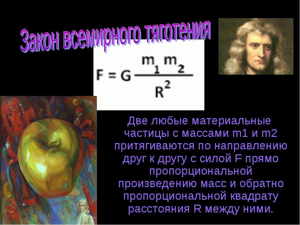 Две любые материальные частицы с массами m1 и m2 притягиваются по направлени...
