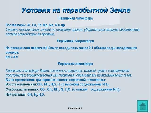 Условия на первобытной Земле Первичная литосфера Состав коры: Al, Ca, Fe, Mg,...