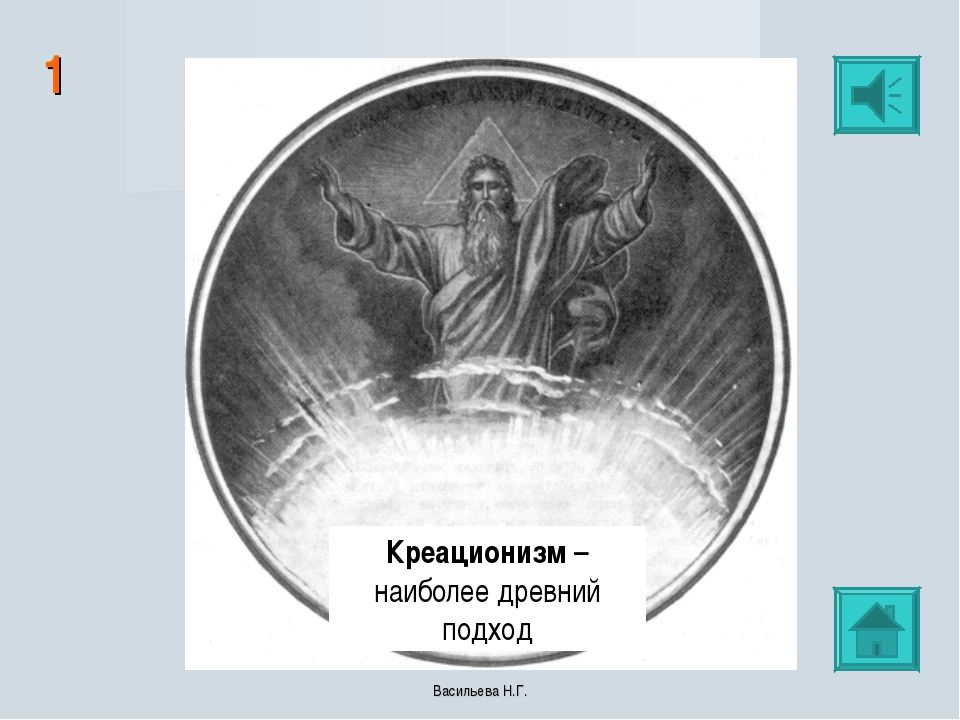 1 Креационизм – наиболее древний подход Васильева Н.Г. Васильева Н.Г.